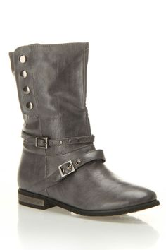 Gray Snap Buckle Boots