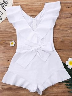 Ruffle Sleeveless Wrap Romper - White S Tween Fashion, Black Girl Fashion, Trendy Fashion, Fashion Outfits, Style Fashion, Kids Outfits, Summer Outfits, Casual Outfits, Cute Outfits