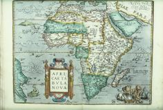 "Africae Tabula Nova, 1570: From Giacomo Gastaldi's wall-map of Africa of 1564, in Abraham Ortelius, ""Theatrum Orbis Terrarum"", (English edition as ""The Theatre of the Whole World"", London 1606)."