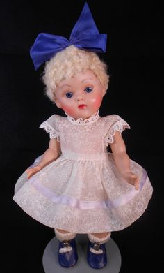 Simply Stunning Vintage Ginny Platinum Poodle Cut in Tagged 1952 Dress