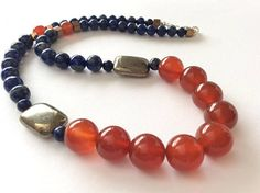 Carnelian Lapis Lazuli and Pyrite Gem Bead Necklace