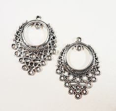 Silver Chandelier Earring Connectors 33x24mm Antique 9 To 1 Connector Pendants Charms Jewelry Findings 4pcs