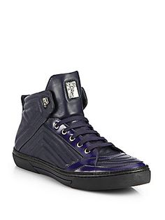 Versace Quilted Leather Zip High-Top Sneakers Mens Smart Casual Shoes, Smart Casual Footwear, Hot Shoes, Men's Shoes, Shoe Boots, Dress Shoes, Quilted Leather, Leather Men, High Top Sneakers