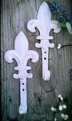 Fleur De Lis Hooks Shabby Chic Decorative by ColoristicSensation,