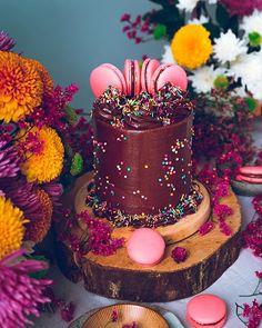 WEBSTA @ historiasdelciervo - Vanilla Chips cake with creamy chocolate frosting, sprinkles and raspberry chocolate macarons!