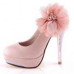 Sapato Scarpin Rosa Salto Alto Aplique Flor M587 - Loja Alô Mulheres