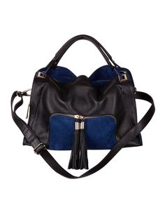 ABSINTHE blue leather and suede bag with tassels! Women Accessories,  Fashion Accessories, Tote 80f3cd14ed