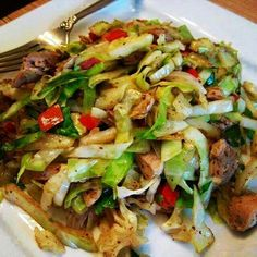 CHICKEN CABBAGE STIR FRY: 3 chicken breast halves.1 tsp of oil.3 cups of green shredded cabbage.½ cup of diced red bell pepper.1 tbsp of cornstarch.½ tsp of ground ginger.1 tsp of garlic powder.Cut chicken into strips & put in frying pan w/heated oil on medium high.Stir constantly til cooked.  Stir in cabbage & red pepper for 2 minutes. Add cornstarch,seasonings,water,soy sauce and mix until smooth. Stir sauce&cook to thicken abt 1 min