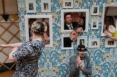 Photo Booth Colourful Outdoor Woodland DIY Yurt Wedding http://alexa-loy.com/