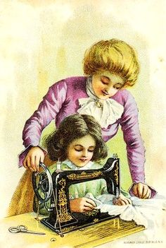 Vintage 1900s mother teaching her daughter to sew.