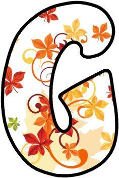 Monogram Alphabet, Alphabet And Numbers, The Last Leaf, 8 Martie, Harvest Party, Letter G, Fall Season, Rainbow Colors, Autumn Leaves