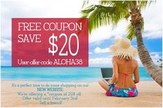 Our Gift to you!  Free coupon for you! It's perfect time to do shopping our NEW website www.mshawaiitours.com We're offering you a *coupon of $20 off.  Happy shopping! Offer valid until February 3!  Tell a friend!      *Limited time offer.  ALOHA38 coupon and offer expires  February 3,  2013 at 11.59pm. Pacific. Limit one $20 off offer for customer.  ALOHA38 coupon is good for $20 off all services. Subject to adjustment due to returns, cancellations and exchanges. No substitutions…