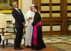 <p>Cracking jokes with the Pope Francis in the Vatican in 2014</p>