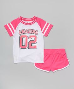 This Fuchsia 'Amazing' Tee & Shorts - Girls by Girls Luv Pink is perfect! #zulilyfinds