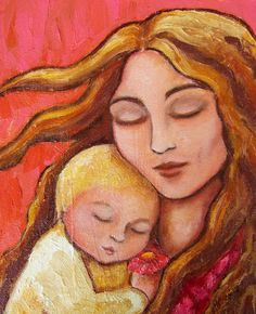 Mother and Child Textured Oil Painting, Art - Mother & Child