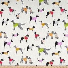 PKL Studio Pups On Parade Natural Duck from @fabricdotcom  Screen printed on cotton duck, this versatile medium weight fabric features adorable pups and is perfect for window treatments (draperies, valances, curtains and swags), accent pillows, duvet covers and light upholstery. Colors include cream, white, light beige, black, lilac, green, orange, pink and shades of grey.