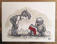 Cette série d'illustrations réinvente Chewbacca comme Winnie, Bourriquet comme un AT-AT, Porcinet comme R2-D2, ainsi que d'autres hybrides adorables.