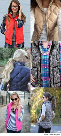 """Puffer vest inspiration- I don't actually own any """"puffer"""" vests, but have a couple fleece that I never wear. Might re-evaluate i need me one of these...."""