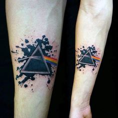 Splashy Triangle Tattoo With Rainbow On Arms For Guys