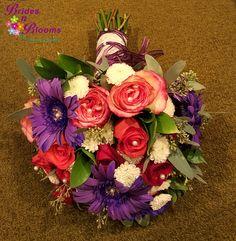 Roses, Mums & Gerbera Daisy Brides Bouquet