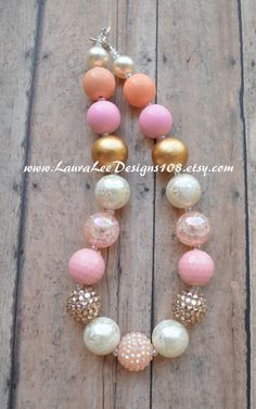 Cream Peach Light Pink and Gold  Bubblegum by LauraLeeDesigns108