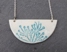Floral Imprinted Porcelain & Sterling Silver Necklace by FebbieDay of Doe&Day (FDN141)