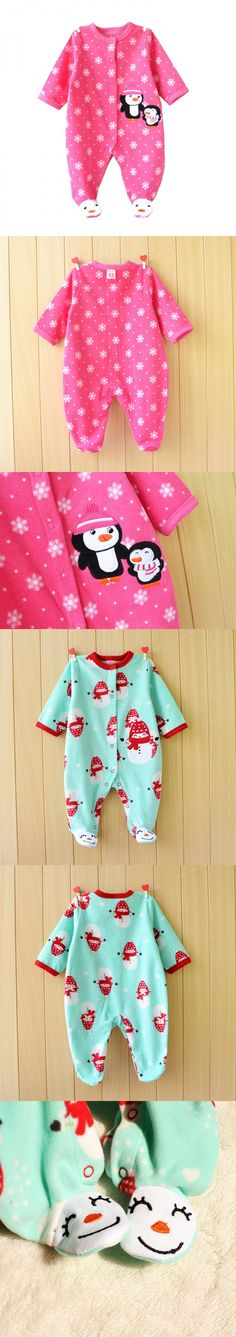 Penguin Fleece Body Bebe Baby Rompers Long Sleeve Roupas Infantil Newborn Baby Girl Romper Clothes Infant Clothing, Size 3-12M