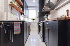 A Galley Kitchen Renovation for a Serious Chef-Turned-Food-Editor Custom Countertops, Real Kitchen, Galley Kitchens, Home Chef, Open Shelving, Kitchen Remodel, Hex Tile, Kitchen Cabinets, Cutting Boards