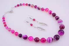 free shipping F-381 Stunning Pink Botswana Agate .925 Silver Beaded Handmade Necklace Jewelry 71 Gr. by SILVERHUT on Etsy