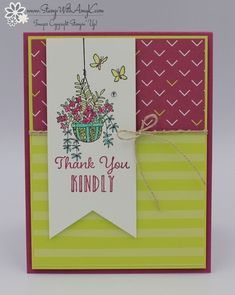 I used the Stampin' Up! Hanging Garden stamp set to create a clean and simple thank you card for the Fab Friday color challenge this week. Here are the colors for Fab Friday Hope that y…