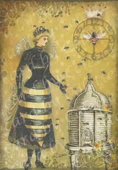 ≗ The Bee's Reverie ≗ Bee Skep Digital Collage Greeting Card by Bee Images, Images Vintage, I Love Bees, Birds And The Bees, Buzz Bee, Bee Skep, Bee Friendly, Bee Jewelry, Bee Art