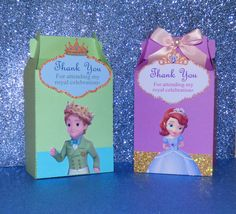 Sofia the First Favor Boxes - Favor Bags - Prince James Favor Boxes - Favor Bags by PishPoshPartique on Etsy https://www.etsy.com/listing/231754244/sofia-the-first-favor-boxes-favor-bags