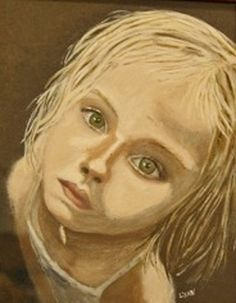 Girl painting. Blonde hair. Child painting. Looking up. Eyes painting. Portrait painting. Original. Acrylic. By Lynnpaints on etsy. FWB