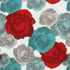 white rose fabric by Robert Kaufman teal red - Valentina Ramos rose fabric with red, teal and grey flowers from the USA