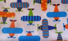 coupon tissu patchwork enfant avion romantique, bleu, orange, env. 40x50 cm