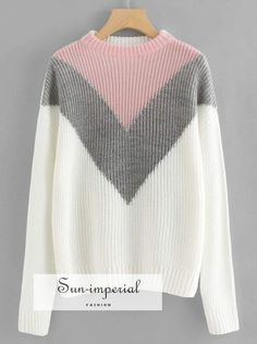 Product name: Drop Shoulder Chevron Pullover at SHEIN, Category: Sweaters Fashion News, Fashion Outfits, Womens Fashion, Sweater And Shorts, Striped Cardigan, Mode Hijab, White Style, Pullover Sweaters, Chevron