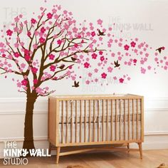 7 Cherry blossom tree with birds - Kids Wall Stickers, Nursery Wall Decals + fun room accessories! Tree Decal Nursery, Tree Decals, Nursery Wall Stickers, Kids Wall Decals, Girl Nursery, Girl Room, Baby Room, Cherry Blossom Tree, Blossom Trees
