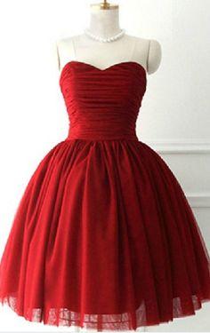 Burgundy Red Homecoming Dress,Short
