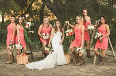 Bridesmaids in coral at a Cali apple orchard wedding