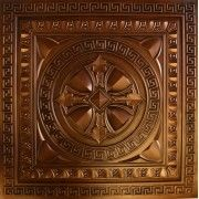 """Drop In and Glue Up, Faux Tin, Plastic Ceiling and Wall Panel: """"TD01 Aged Copper"""" Size: 23 3/4"""" X 23 3/4"""", Price: 10.99 USD Talissa Decor Signature Collection: http://www.talissadecor.com/catalog/glue-up-faux-tin-ceiling-tiles/antique-finish-ceiling-tile"""