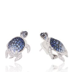 Turtle Earrings in Blue Sapphires