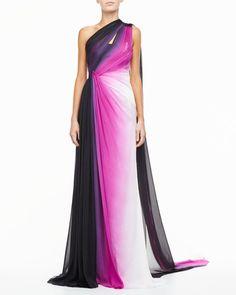 Monique Lhuillier - Silk One-Shoulder Gown, Ombre