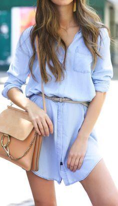 Chambray shirt dress.