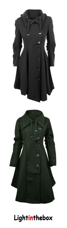 Women's Plus Size Going out Simple Vintage Street chic Fall Winter Coat