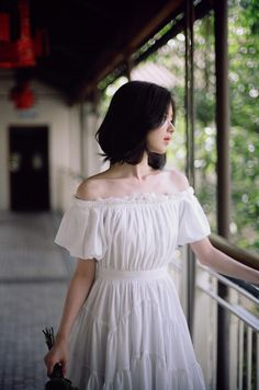 white chiffon korean dress
