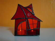 Stained glass little home candle holder