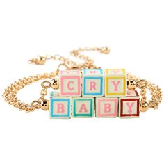 Hot Topic Melanie Martinez Cry Baby Blocks Bracelet Set (£6.53) ❤ liked on Polyvore featuring jewelry, bracelets, multi, gold tone jewelry and chains jewelry