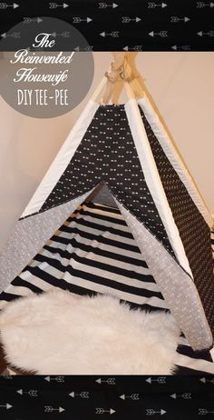 FREE DIY tee-pee plans from The Reinvented Housewife! black white modern tent teepee pattern tutorial playroom kids room boy girl children decor