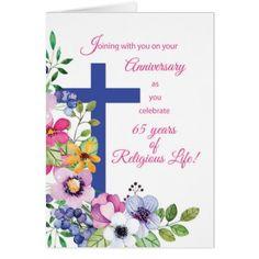 65th Anniversary Nun Religious Life Cross & Flower Card - blue gifts style giftidea diy cyo