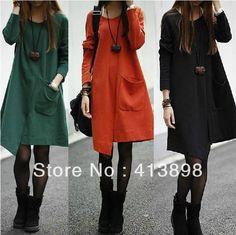 2013 outono e inverno mulheres vestido solto casuais plus size irregular vestido de manga comprida hotselling roupas femininas freeshipping $14,20